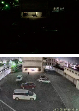 Honda's surveillance camera can record color video even at night. (Top: image taken with a smartphone. Bottom: image taken with Honda's surveillance camera)
