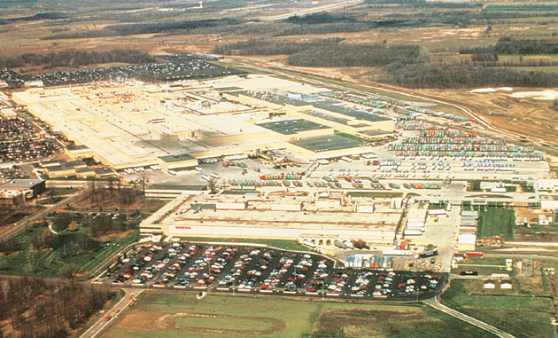 A View Of The Entire Ham Plant At Marysville Ohio In American Midwest Building Front Is Motorcycle Which Began Operating