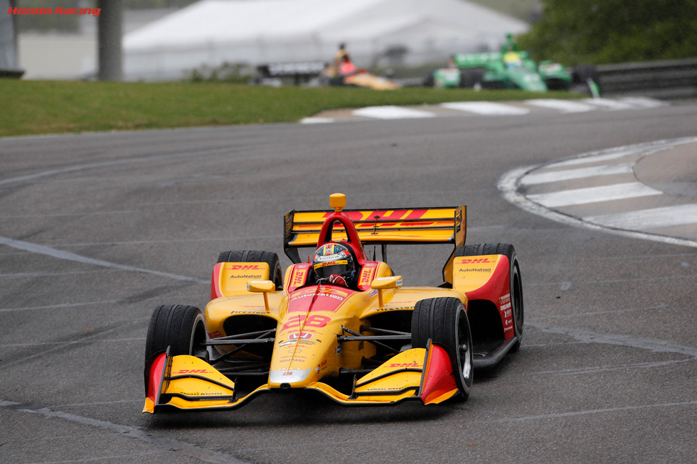 Podium Finishes for Hunter-Reay, Hinchcliffe at Rain-Impacted Alabama