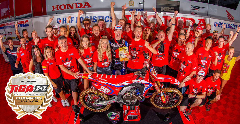 Tim Gajser Wins 2019 FIM Motocross World Championship Title in the Premier MXGP Class