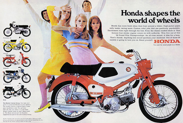 In the mid-1960s, Honda also released 'Roadster,' 'Rally,' 'Boss,' and 'Student' customizing kit parts for the CA100.