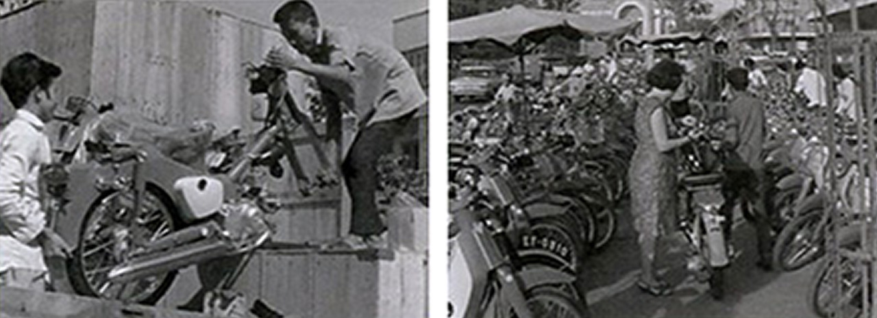 Massive quantities of Super Cubs crossed the ocean to wartime South Vietnam in the 1960s and early '70s. Its excellent durability and reliability laid the foundations for Vietnam becoming a 'Super Cub Heaven.' (photo from in-house Honda publication 'Pole Position').